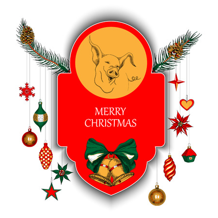 vector white merry christmas card with cute pig and colorful decorations vector paper illustration