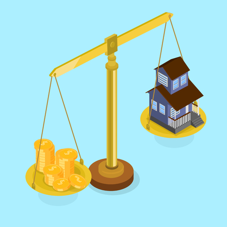 Real estate valuation and insurance. Blue isometric background with scales. Vector 3d design illustration.
