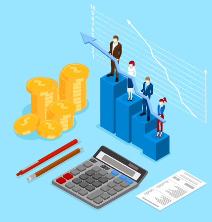 Accounting, taxes and financial calculation. Chart, money and calculator on blue background. Isometric illustration. Vector 3d design. Ilustrace
