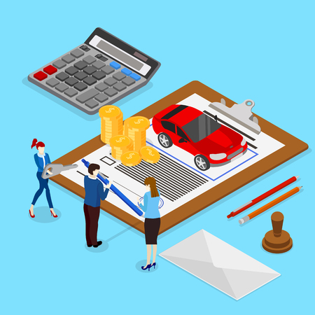 Car valuation and insurance. Isometric illustration with people and car on blue background. Vector 3d design.