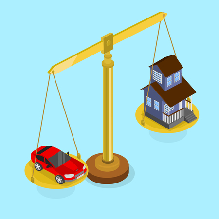Car and real estate valuation. Blue isometric background with scales. Vector 3d design illustration.