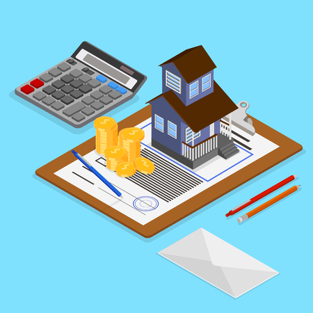 Real estate valuation and insurance. Isometric illustration with papers and house on blue background. Vector 3d design.