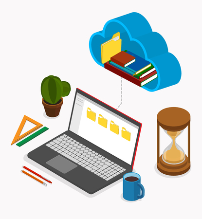 Office or student workplace with laptop used cloud storage and stationery. Isometric illustration on white background. Vector 3d design. Çizim