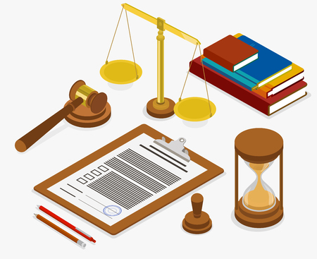 Lugar de trabajo de juez o abogado con documentos. Ilustración isométrica sobre fondo blanco. Vector de diseño 3d.