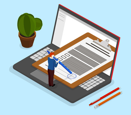 Sign documents with electronic signature. Workplace with worker and laptop. Isometric illustration on blue background. Vector 3d design.