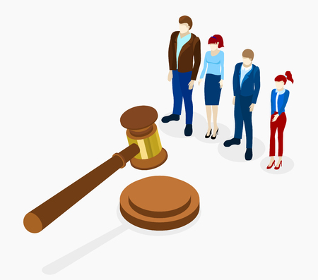 No corruption. Isometric illustration with gavel and people on white background. Vector 3d design. Vettoriali
