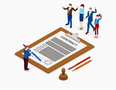 Sign a contract. Office workplace with employees and paper document. Isometric illustration on white background. Vector 3d design.