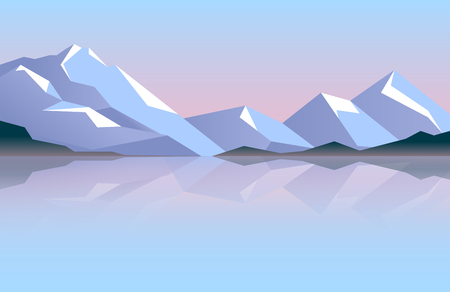 Low poly beautiful mountain landscape with icepeaks. Abstract vector illustration.  イラスト・ベクター素材