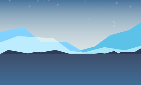 Low poly beautiful mountain night landscape with crescent. Abstract vector illustration. Ilustração