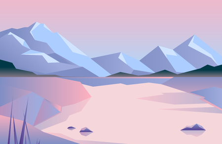 Low poly beautiful mountain landscape with lake. Abstract vector illustration.