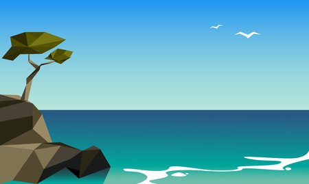 Low poly beautiful seascape with rocky coast and seagulls. Abstract vector illustration. Ilustração