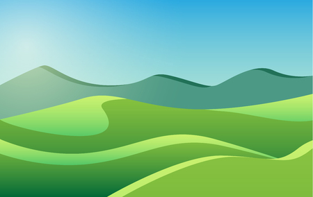 Low poly beautiful summer landscape with mountains and green meadows. Abstract vector illustration.