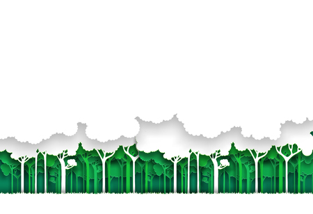 Eco green and white nature forest background. Paper art style. Vector illustration.