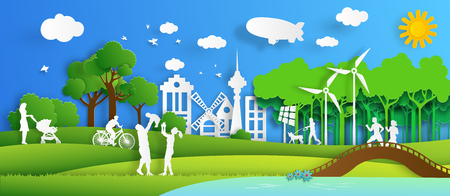 Nature cityscape background and eco friendly concept with people. Paper art style. Vector illustration. Vectores