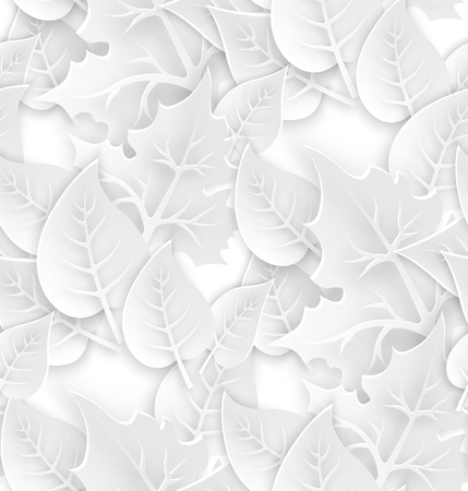 White ecology seamless textured pattern with 3d leaves. Paper art style. Vector illustration.
