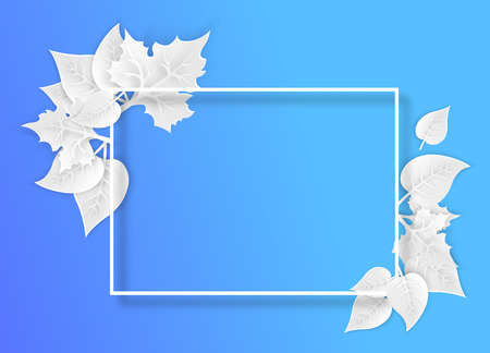 Blue ecology background with white frame and 3d leaves. Paper art style. Vector illustration.