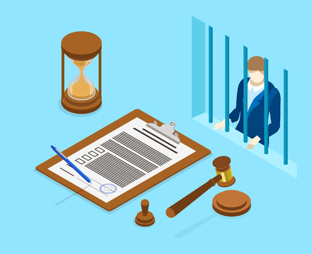 Workplace of judge or lawyer with man behind bars. Isometric illustration on blue background. Vector 3d design.