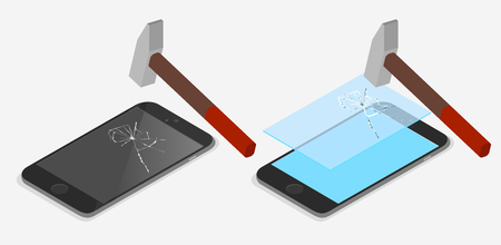 Hammer beats smartphone screen. Demonstration of protective glass for smartphone. Isometric illustration on blue background. Vector 3d design.