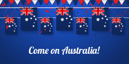 Come on Australia! Blue festive background with national flags and confetti. Vector paper illustration.
