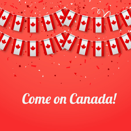 Come on Canada! Red festive background with national flags and confetti. Vector paper illustration.