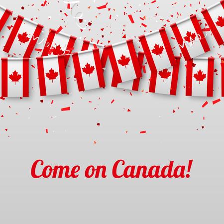 ¡Vamos Canadá! Fondo festivo blanco con banderas nacionales y confeti. Ilustración de papel de vector.