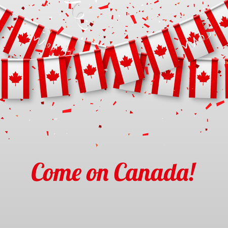 Come on Canada! White festive background with national flags and confetti. Vector paper illustration.