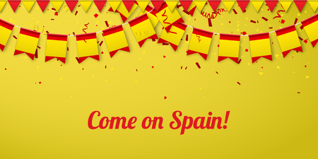 Come on Spain! Yellow festive background with national flags and confetti. Vector paper illustration.