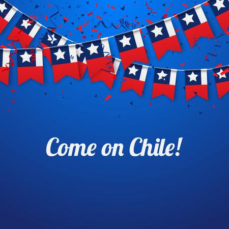 Andiamo Cile! Sfondo blu festivo con bandiere nazionali e coriandoli. Illustrazione di carta vettoriale.