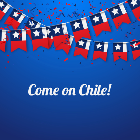 Come on Chile! Blue festive background with national flags and confetti. Vector paper illustration. 矢量图像
