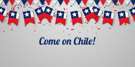Kom op Chili! Witte feestelijke achtergrond met nationale vlaggen en confetti. Vector papier illustratie.