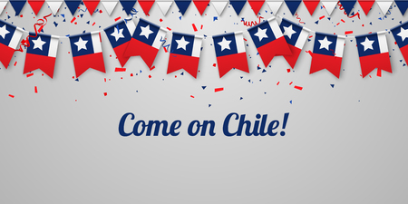 Come on Chile! White festive background with national flags and confetti. Vector paper illustration.
