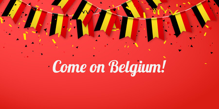 Come on Belgium! Red festive background with national flags and confetti. Vector paper illustration.