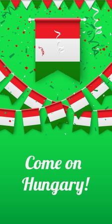 Kom op Hongarije! Groene feestelijke achtergrond met nationale vlaggen en confetti. Vector papier illustratie. Vector Illustratie