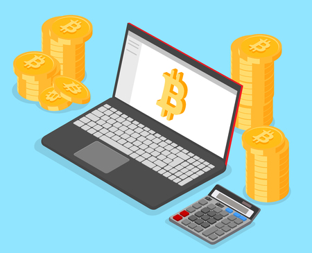 Crypto-currency rate, bitcoin and online income. Laptop, money and calculator on blue background. Isometric illustration. Vector 3d design.