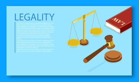 Legality. Isometric illustration with judicial hammer and scales on blue background. Landing page template. Vector 3d design.