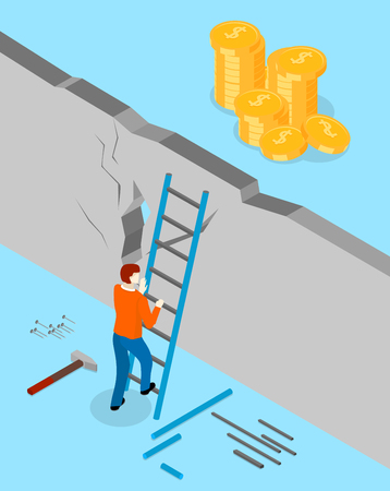 Achieve financial goal and solve problem. Blue background with man overcomes wall and money behind it. Isometric illustration. Vector 3d design.