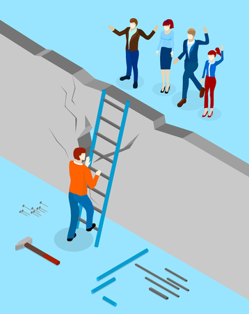 Solve problems with communication. Blue background with man overcomes wall and people behind it. Isometric illustration. Vector 3d design.