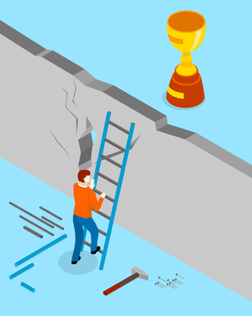 Achieve goal and solve problem. Blue background with man overcomes wall and gold cup behind it. Isometric illustration. Vector 3d design.
