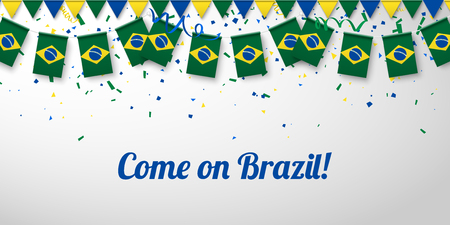 Come on Brazil! White festive background with national flags and confetti. Vector paper illustration.