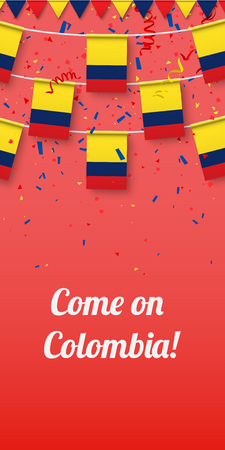 Come on Colombia! Red festive background with national flags and confetti. Vector paper illustration. Illusztráció