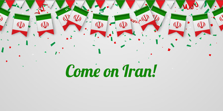 Come on Iran! White festive background with national flags and confetti. Vector paper illustration.