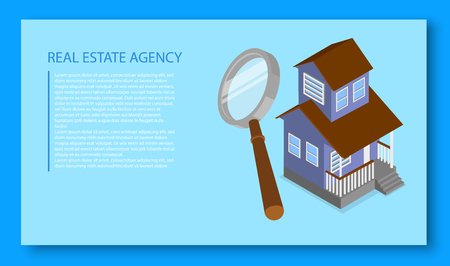 Real estate agency. Isometric illustration with house and magnifier on blue background. Landing page template. Vector 3d design.