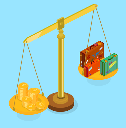 Blue background with luggage and money on scales. Isometric illustration. Vector 3d design.