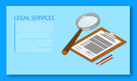 Legal services. Isometric illustration with documents on blue background. Landing page template. Vector 3d design.