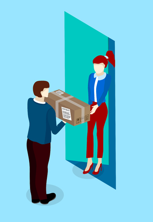 Express door-to-door delivery service. People and box on blue background. Vector 3d design.