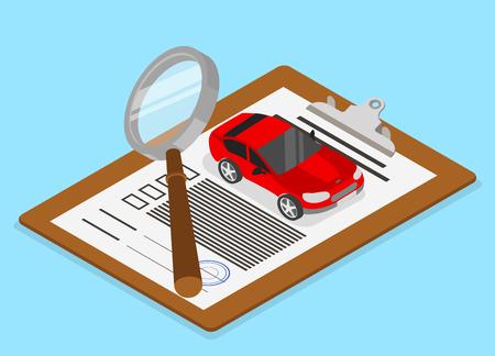 Fahrzeugbewertung und Versicherung. Isometrische Illustration mit Auto und Dokumenten auf blauem Hintergrund. Vektor 3d Design.