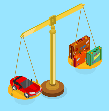 Blue background with luggage and car on scales. Isometric illustration. Vector 3d design.  Illustration