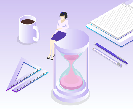Project deadline. Office, manager or student workplace with stationery on lilac spectrum background. Isometric illustration. Vector 3d design.