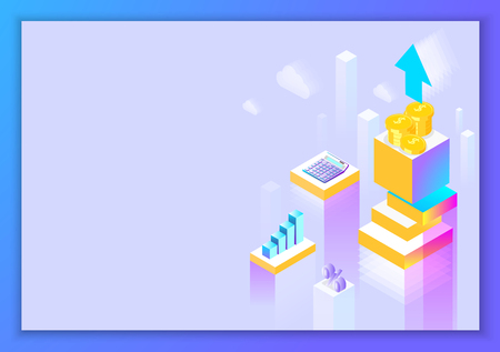 Finance and revenue growth. Lilac background. Landing page or presentation template. Abstract isometric illustration. Vector 3d design.