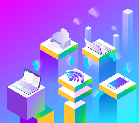 Connection, internet and local network capabilities. Abstract isometric illustration on purple spectrum background. Vector 3d design. Presentation template. Illustration